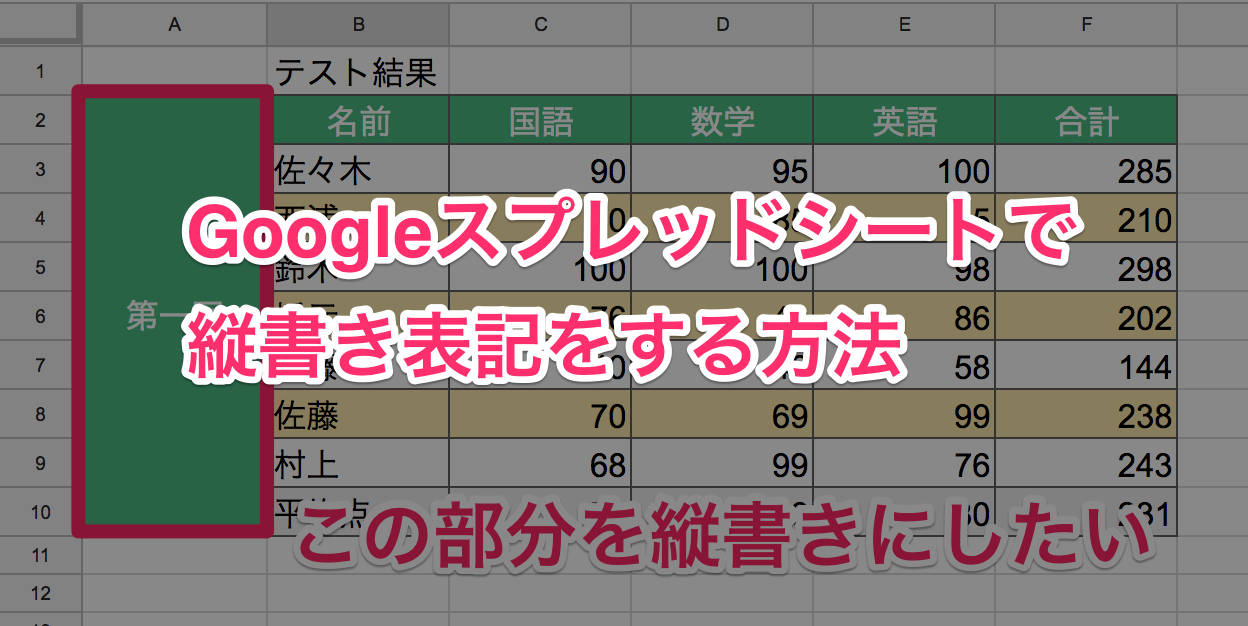 Googleスプレッドシート 縦書き00